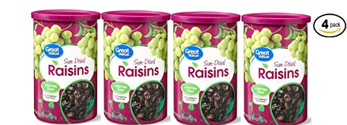 Great Value Sun-Dried Raisins, 20 oz (Fat Free and Cholesterol Free) - Pack of 4 -