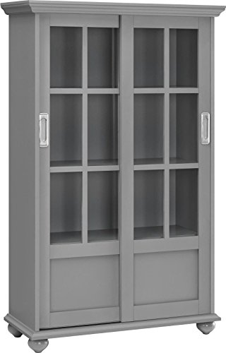 [US Stock]6-Shelf Grey Bookcase With Sliding Glass Doors Tall Storage Cabinet