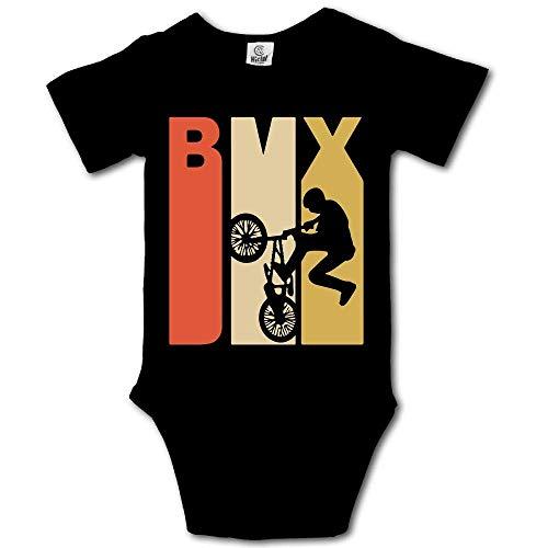 Mydufish Bodysuits Retro 1970's Style BMX Silhouette Baby Original Cotton Jumpsuit Black