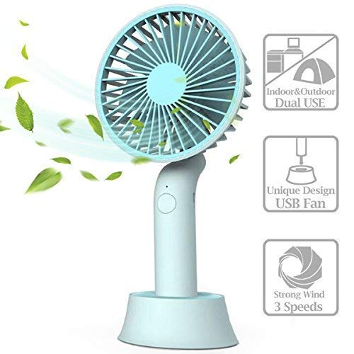 Mini Handheld Fan, Portable USB Fan with Dock, Dual Use Rechargeable Desktop Fan for Office, Outdoor, Camping, Beach etc, Personal Travel Accessories (Handheld Fan)