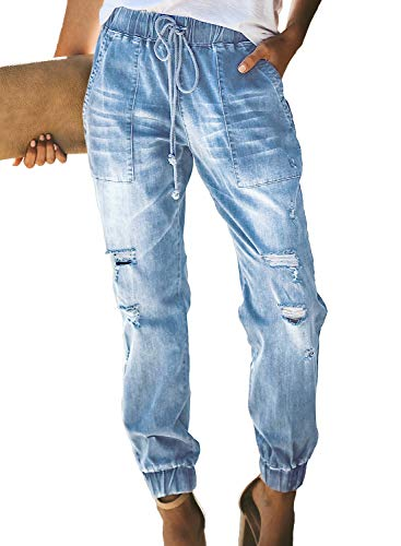 (Sidefeel Women Distressed Denim Joggers Elastic Drawstring Waist Jeans Pants Small Light Blue)