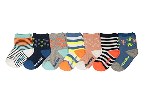 OshKosh B'Gosh Boys' Little Crew Socks (7 Pack), Days of The Week/Beach, 8 & Up