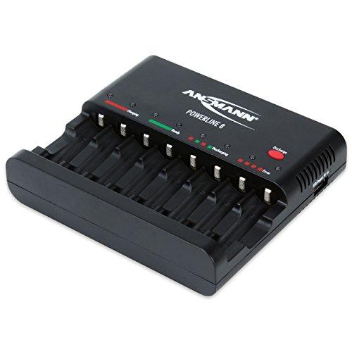 ANSMANN Powerline 8 Akku-Ladegerät Testsieger (Vergleich.org 08/2015) für 8x Mignon AA/Micro AAA Akkubatterien mit Entladefunktion
