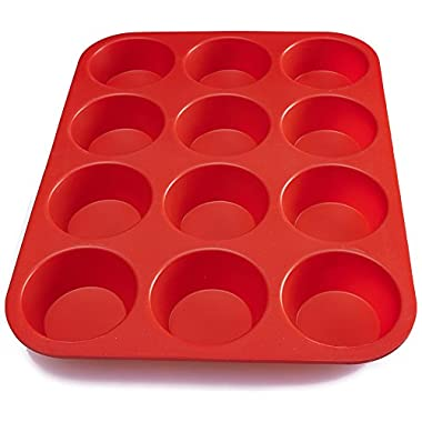 BakeMaster Silicone Muffin Pan Silicone Cupcake Pan 100% Food Grade Silicone Quiche Pan BPA free Non stick Red Silicone Cupcake Maker Lightweight Cupcake Mold Microwave and Dishwasher Safe