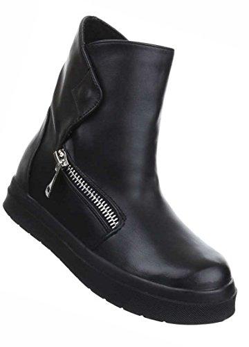 Damen Boots Schuhe Keil Stiefeletten Freizeitschuhe Schwarz Grau Weiß 35 36 37 38 39 40 41 Schwarz