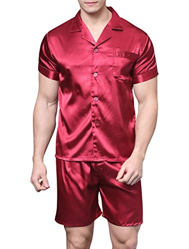 - Men's Satin Pajamas Short Button-Down Pj Set Sleepwear Loungewear (Wine Red, XXL)