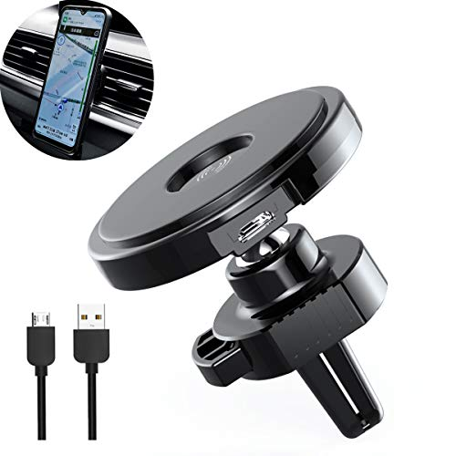 Wireless Charger, 10W Qi Fast Charging Nano Adsorption Car Mount, Air Vent Dashboard Phone Holder, Compatible with iPhone, Samsung & Other Devices That Support Wireless Charging