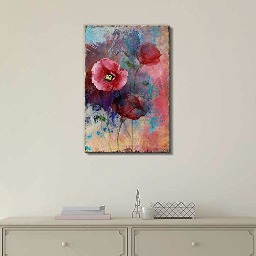 Red Poppies Over a Colorful Watercolor Background Nature