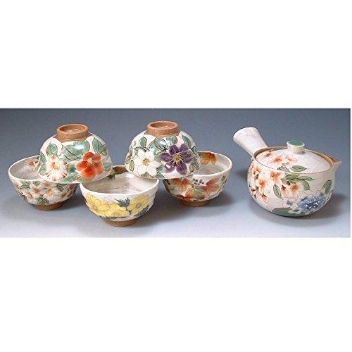 Kiyomizu-kyo yaki ware. Set of Japanese yunomi teacup and kyusu teapot shirogakegosoka with paper box. ceramic. kymz-toua592