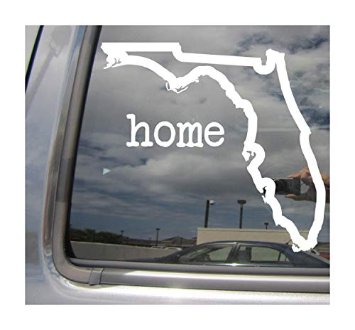 Right Now Decals Florida State Home Outline - FL Tallahassee Miami Sunshine USA America - Cars Trucks Moped Helmet Hard Hat Auto Automotive Craft Laptop Vinyl Decal Store Window Wall ()