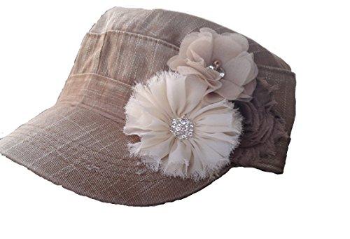 Womens Cadet Flower Hat in khaki denim cream and tan khaki baseball cap (Hats With Hair Attached)