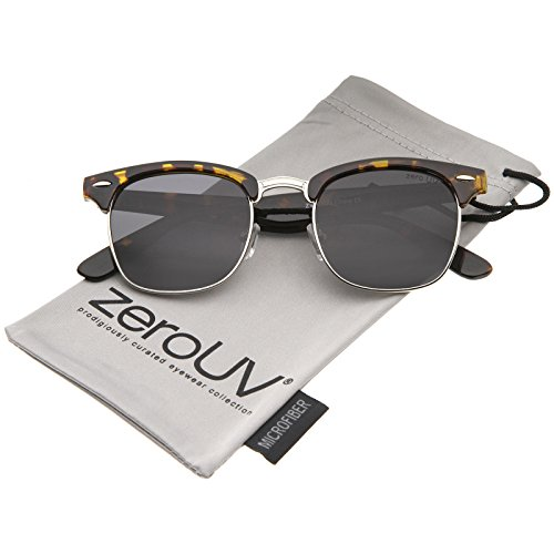 zeroUV - Polarized Lens Classic Half Frame Horn Rimmed Sunglasses 50mm (Tortoise-Silver / Smoke Polarized) (Classic Polarized Wayfarer Sunglasses 50mm)