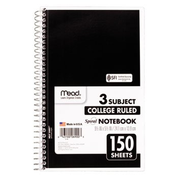 Spiral Bound Notebook, Perforated, College Rule, 6 X 9 1/2, White, 150 Sheets