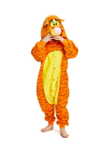NEWCOSPLAY Kids Plush One Piece Cosplay Onesies Costume (115, Tigger)