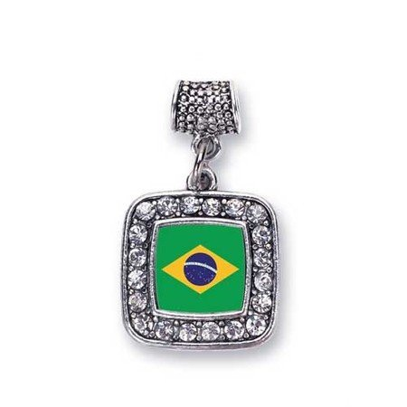 Brazil Flag Brazilian Pride Charm Fits Pandora Bracelets & Compatible with Most Major Brands such as Chamilia, Murano, Troll, Biagi and other European Bracelets Brazilian Jewelry