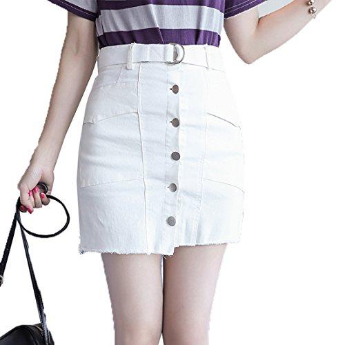 Short Casual Traspirante Slim Monopetto Tinta Donna Comodo Dolce Cintura Skirt Corte Bianco Gonne Alto Boern Unita Gonna Temperamento Fit Semplice Giuntura a6EnqdUw