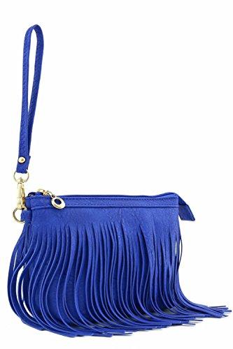 Wrist Fringe Royal Small Strap Blue with Bag Crossbody wdwq8zI
