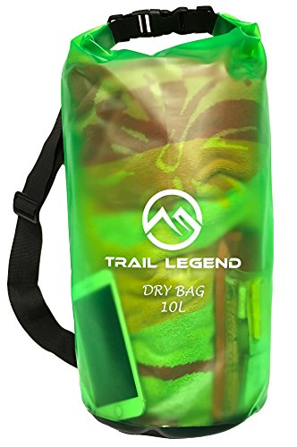 Trail Legend Floating Waterproof Dry Bag - Transparent Green - 10 Liter - Keeps Your Gear Safe & Dry - for outdoor water sports, boating, rafting, hiking, backpacking, camping