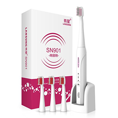Pink LANSUNG SN901 Ultrasonic Electric Toothbrush Rechargeable Tooth Brushes 4 Pcs Replacement Heads Auto Setting Time