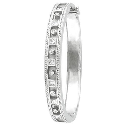 Round and Princess Cut Bezel Set Diamond Bangle Bracelet 14K White Gold (1.24ct)