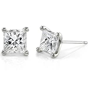 2ct TW Certified Princess Diamond Stud Earrings in 14Kt White Gold (D/SI1-SI2)