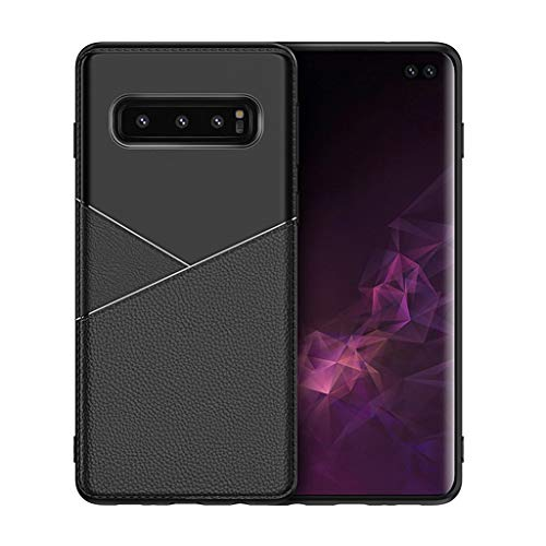 for Samsung Galaxy S10 Plus Case,Thing-ning Slim Fit Premium PU Leather Soft TPU Bumper Rugged Grip Shockproof Protective Cover Cases Compatible with Samsung Galaxy S10 Plus (Black) by thing-ning Phone Case (Image #3)