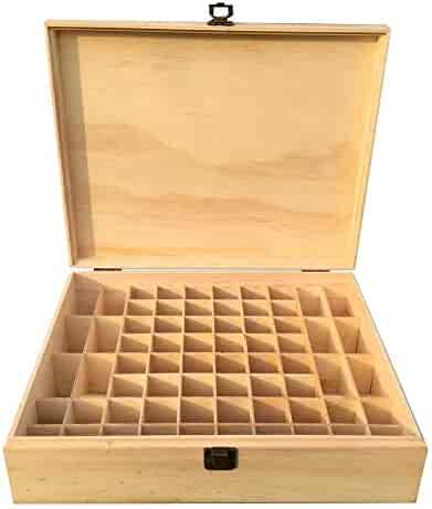 Essential Oils Storage Wooden Box - with 68 Slots for 30ml Bottles, Essential Oils Wooden Case Perfect for Display & Presentation