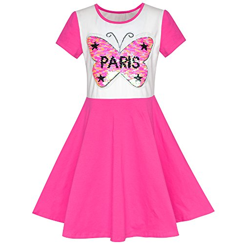 Girls Dress Pink Embroidered Butterfly Reversible Sequin Size -