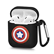 Pocoolo Airpods Case Airpods Accessories Protective Silicone Cover and Skin with Carabiner for Apple Airpods Charging Case (Captain America)
