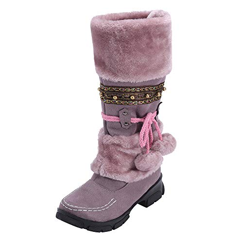 Mysky Fashion Women Vintage National Style Plush Warm Boots Ladies Casual Lace Up Slip-On Snow Boots Shoes Purple