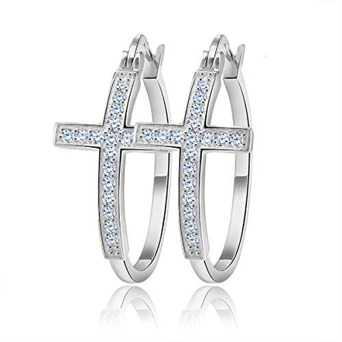 uPrimor Simple 30mm CZ Diamond Cross Hoop Earrings, hypoallergenic, Platinum Plated - Crystal Crucifix