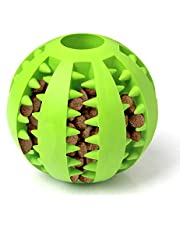 Dog Toy Ball Bite Resistant Toy Ball for Dogs Puppies Dog Food Treat Feeder Tooth Cleaning Ball Toy Green