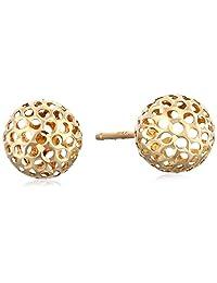 14k Yellow Gold Pierced Ball Stud Earrings