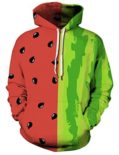 Uideazone Boys Teens Cool Watermelon Graphic Hooded Sweatshirt Novelty Pocket Hoodie