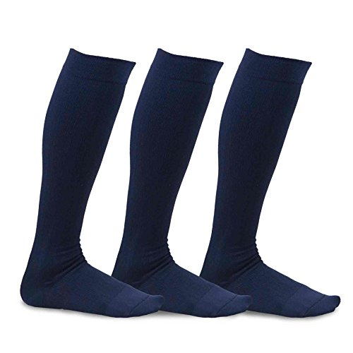 Bamboo Knee High Socks (TeeHee Viscose from Bamboo Compression Knee High Socks with Rib 3-Pack (Medium (9-11), Navy))