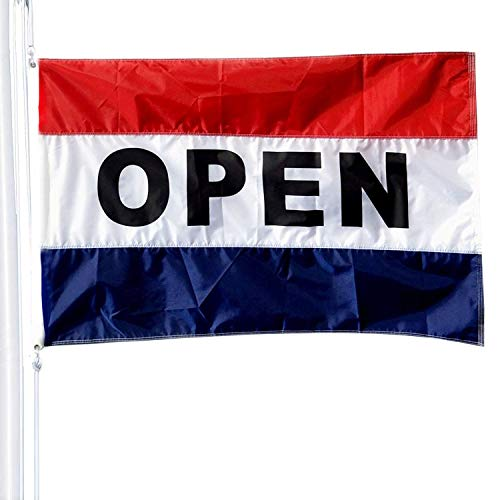(VSVO US Open Flag 3 x 5ft.- Outdoor Message Flag with Double - Sided Embroidered Letters - Grommets Vibrant Sewn Stripes - UV Fade Resistant - Commercial Grade Business Open Flags)