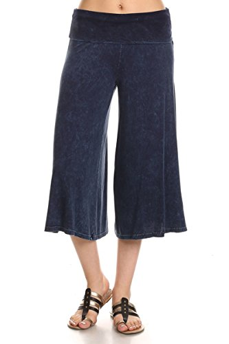 Gaucho Pants Women (HeyHun Women's Solid Mineral Washed Tie Dye Wide Leg Flared Capri Boho Gaucho Pants - Denim Blue)