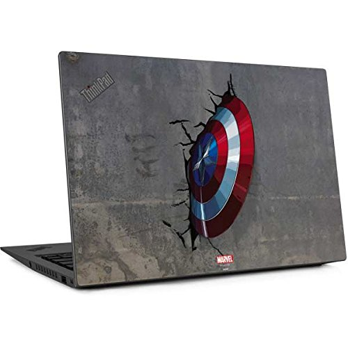 Skinit Marvel Avengers Thinkpad X1 Carbon (6th Gen, 2018) Skin - Captain America Vibranium Shield Design - Ultra Thin, Lightweight Vinyl Decal Protection