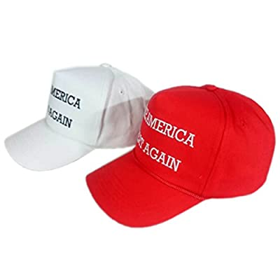 Xcoser Trump Hat Embroidered White Adult Baseball Cap Cosplay Accessorie