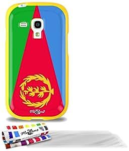 """Carcasa Flexible Ultra-Slim SAMSUNG GALAXY S3 MINI ( I8190 ) de exclusivo motivo [Eritrea Bandera] [Amarillo] de MUZZANO  + 3 Pelliculas de Pantalla """"UltraClear"""" + ESTILETE y PAÑO MUZZANO REGALADOS - La Protección Antigolpes ULTIMA, ELEGANTE Y DURADERA para su SAMSUNG GALAXY S3 MINI ( I8190 )"""