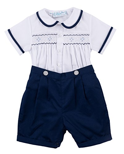 Navy & White Two Piece Smocked Boys Short Set Infant & Toddler (2T) by Feltman Brothers