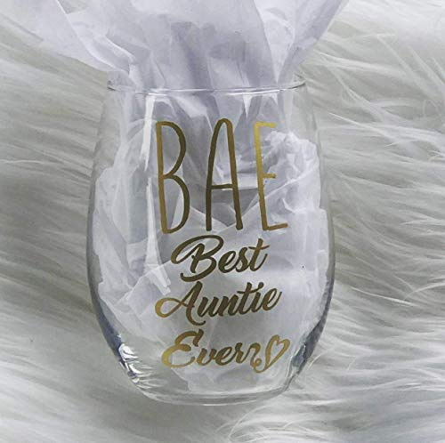 BAE Best Auntie Ever 15 Ounce Stemless Wine Glass, Gift For Aunt, Gold Metallic, Premium Permanent Indoor Outdoor -