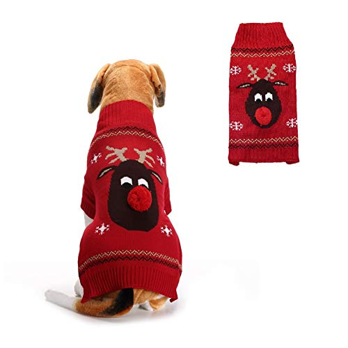 Stock Show Pet Xmas Sweater Dog Cat Christmas Reindeer Snowflakes Turtleneck Knit Sweater Winter Soft Warm Stretch…