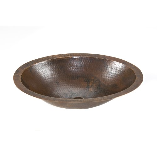 Premier Copper Products LO17FDB Small Oval Under Mount Hammered Copper Sink, Oil Rubbed Bronze (Oval Copper Undermount Sink)