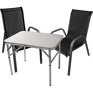 Juego de 3Mobiliario de jardín muebles de jardín muebles de camping mesa plegable 75x 55cm Sillas apilables sillas de jardín Acero/textilen Balcón Terraza para muebles sillas Asiento Grupo