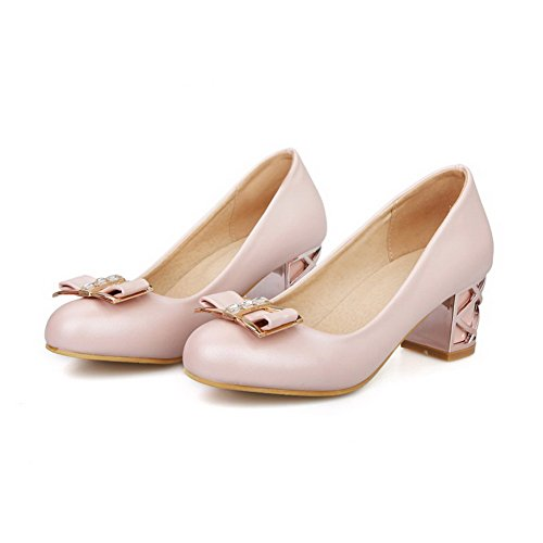 Odomolor Women's Soft Material Pull-on Round Closed Toe Kitten-Heels Solid Pumps-Shoes Pink sAv3I8s