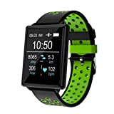 Smart Watch - Fitness Tracker Color Screen Customization Activity Tracker Heart Rate Sleep Monitoring Calorie Counter IP67 Waterproof (Size : Green)