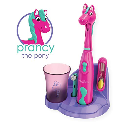 Brusheez Kid's Electric Toothbrush Set - Prancy the Pony - New & Improved with Softer Bristles, Easy-Press Power Button, 2 Brush Heads, Cute Animal Cover, Sand Timer, Rinse Cup & Storage Base -