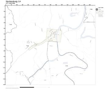 Amazon Com Zip Code Wall Map Of Harrisonburg La Zip Code Map