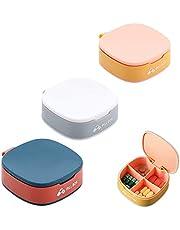 3 stuks draagbare mini-pillendoos, pillendoos, voor op reis, pillendoos, 4 vakken, pillendozen, pillenetui, klein voor onderweg, geneeskunde, tablettendoos, medicijndoos, pillendoos, voor dagelijks gebruik en op reis